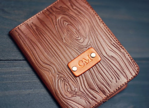 Leather Passport Cover, Woodgrain pattern
