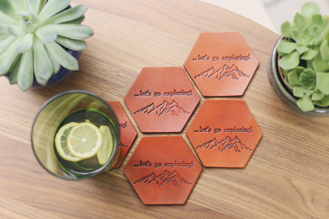 5 Personalized Leather Coaster Set, Hexagonal, Mountains
