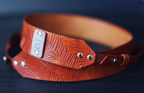 Custom Leather Camera Strap, Palm Leaves