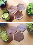 4 Personalized Leather Coaster set, Hexagonal, Crossed arrows