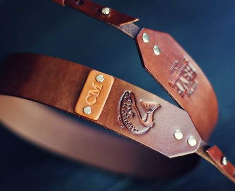 Custom Leather Camera Strap, Fish