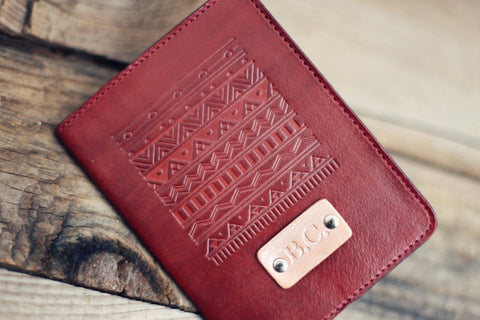 Custom Leather Passport Cover, Tribal