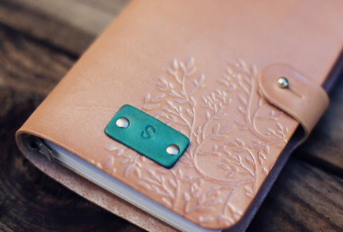 Custom Leather Journal, Branches with button stud