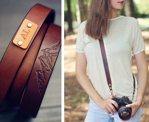 Custom Leather Camera Strap, Black Brown, Mountains