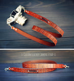 Custom Leather Camera Strap, 1 inch wide, Aztec