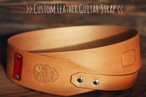 Leather Guitar Strap, Sugar Skull