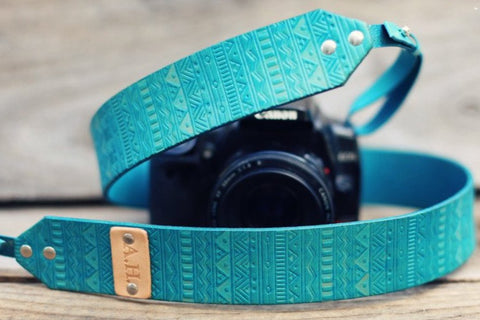 Custom Leather Camera Strap, Aztec Pattern