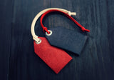 Leather Luggage Tag, Keychain Keyring