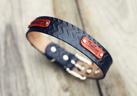 "Personalized Leather Dog Collar, 1 1/4"" Chevron pattern"