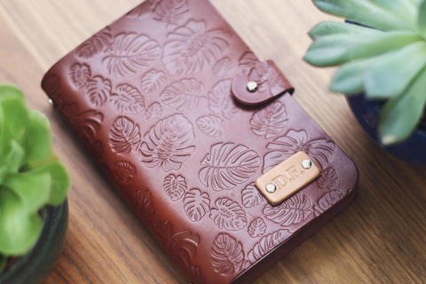 Custom Leather Journal, Button stud closure, Monstera leaves pattern