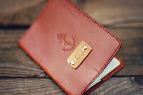 Custom Leather Passport Cover, Anchor