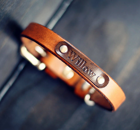 "Personalized Leather Dog Collar, 5/8"" No pattern"