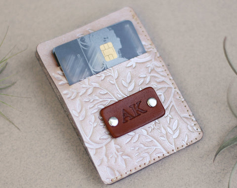 Handmade Leather Wallet, Personalized, Tree Branches