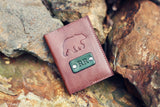 Handmade Leather Wallet, Personalized, Bear