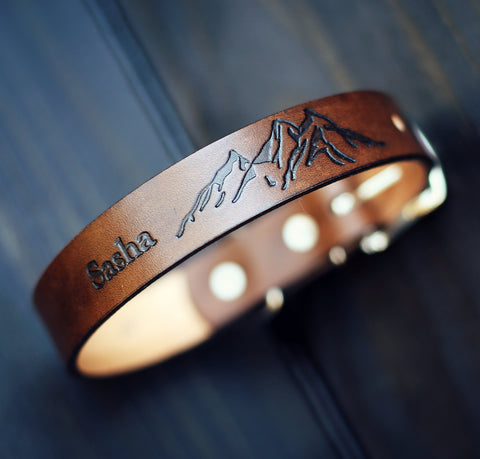 Personalized Leather Dog Collar, Mountains