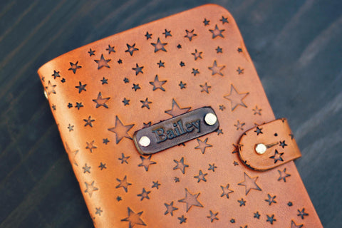 Custom Leather Journal, Star pattern