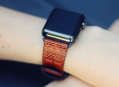 Leather Apple Watchband single tour, Aztec
