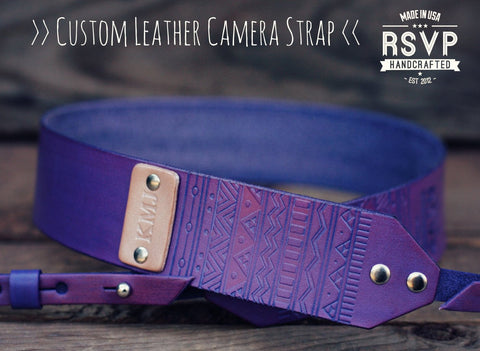 Custom Leather Camera Strap, Aztec