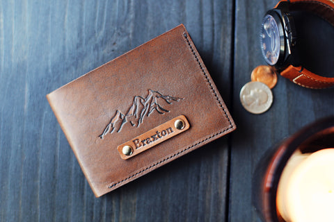 Handmade Leather wallet, Personalized Minimalist Bifold, Mountains