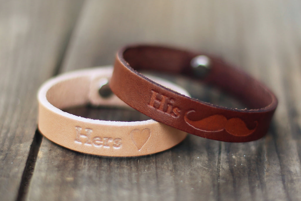 Personalized Couples Bracelets Heart Mustache Rsvphandcrafted