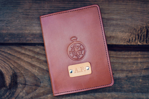 Custom Leather Passport Cover, Compass