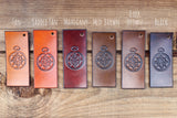 "Personalized Leather Dog Collar, 1 1/4"" Aztec pattern"