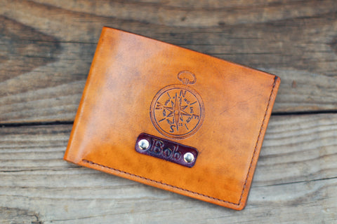 Handmade Leather wallet, Personalized Minimalist Bifold, Compass