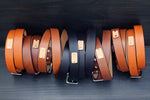 "Leather custom Belt, plain, 1.25"" width"