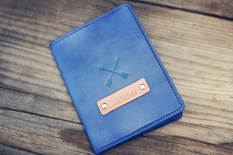 Custom Leather Passport Cover, Crossed Arrows
