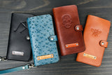Wristlet iPhone Case, personalized Leather Handmade Wallet