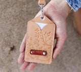 A Set of Personalized ID holder with pocket and a lanyard, Floral tree, ID Pass, Badge Holder, name card slot, beige white