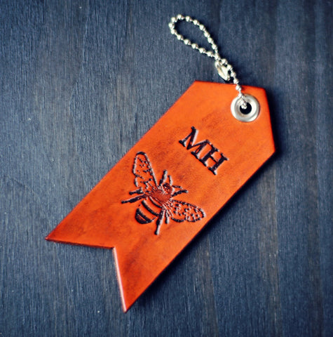 Leather Luggage Tag, Keychain, Honey Bee