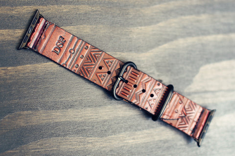 Personalized Apple Watch Leather Band Aztec Rsvphandcrafted