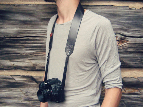 Leather Camera Strap, Mustache & Glasses