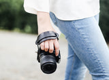 Adjustable Leather Camera Wrist Strap, Grip Strap for DSLR, SLR, Black Brown
