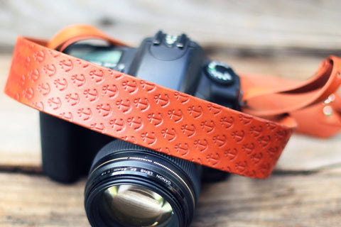 Leather Camera Strap, Anchor pattern