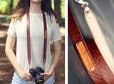 "Custom Leather Camera Strap 1"" Mountains"