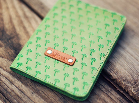 Custom Leather Passport Cover, Palm trees pattern