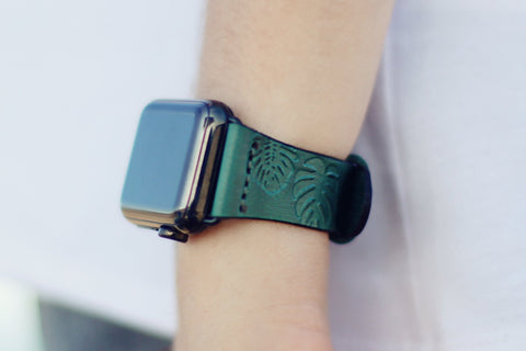 Leather Apple Watch band, Monstera leaves