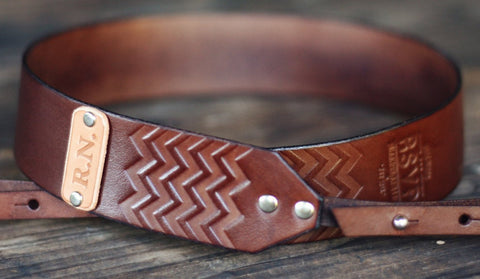 Custom Leather Camera Strap, Chevron