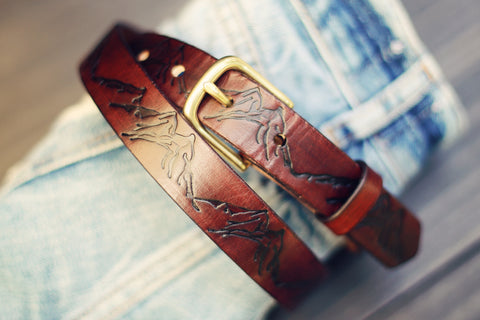 "Custom 1"" Leather Belt, mountains pattern"