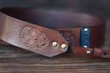Custom Leather Camera Strap, Skull