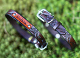 "Personalized Leather Dog Collar, 3/4"" Mountains"