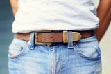 Distressed Buffalo Leather Belt, with SNAPS Oiled Bison/Buffalo 1.25""