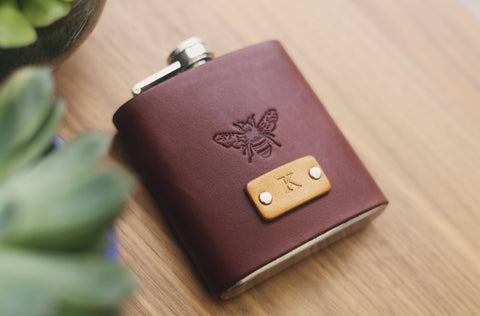 Custom Leather Flask, Bee