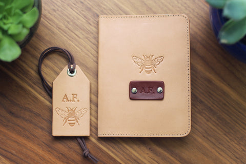 Leather Passport Cover and a Luggage Tag set, Honey Bee