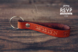 Longitude Latitude Keychain Leather Personalized, GPS Coordinates