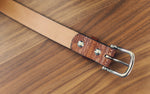 Custom Leather Belt, Aztec, name tag