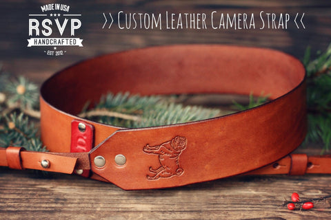 Custom Leather Camera Strap, Pug