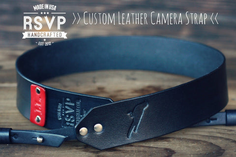 Custom Leather Camera Strap, Bird